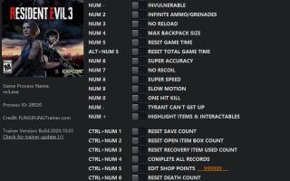 Resident Evil 3: Remake — Трейнер / Trainer (+20) v1.0